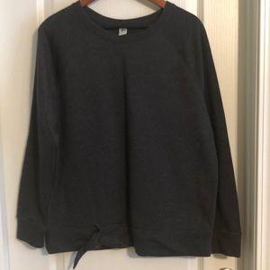 Old Navy Tie Front Heather Gray Sweatshirt L